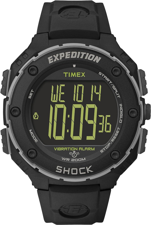 Timex Expedition Shock XL - Reloj análogico de cuarzo con correa de resina para hombre, color negro
