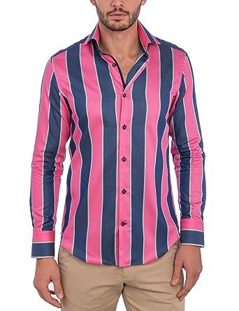 984b92a5b8 HAWES & CURTIS Mens Curtis Pink & Blue Multi Stripe Slim Fit Shirt - High  Collar