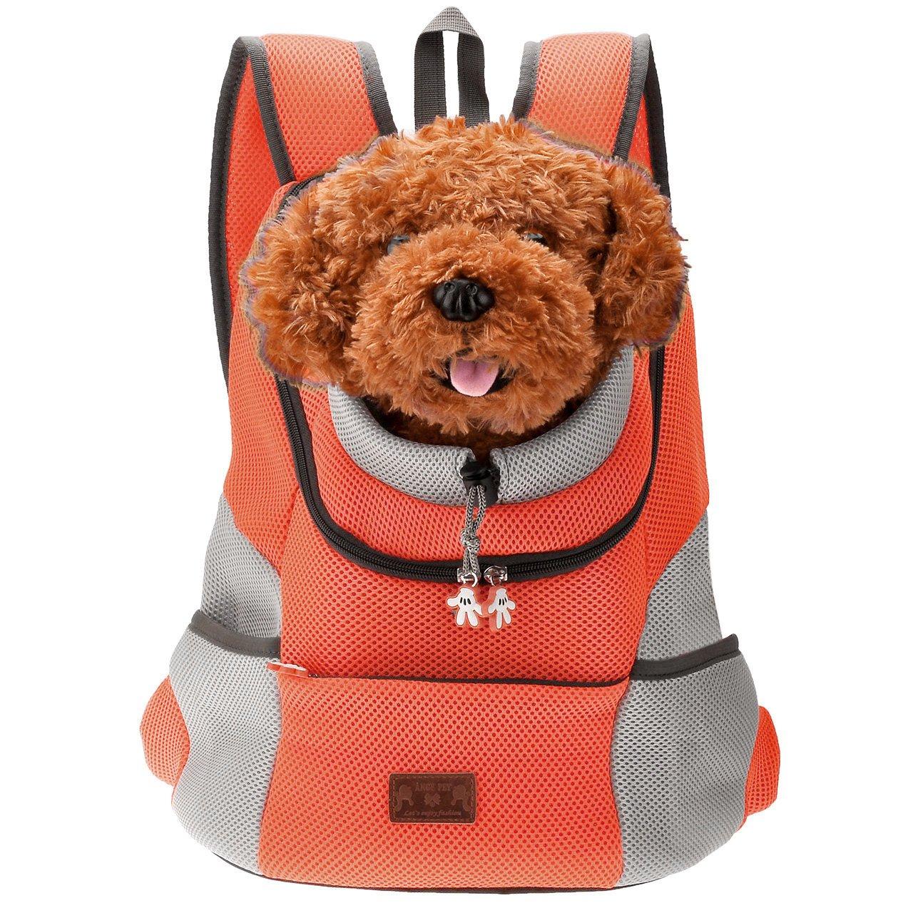 Mangostyle Borsa per Cani Zaino Traspirante Regolabile Confortevole per Cani e Gatti per Outdoor Escursione e Viaggio in Treno Trasportino per Animali Domestici Aranccione L Size