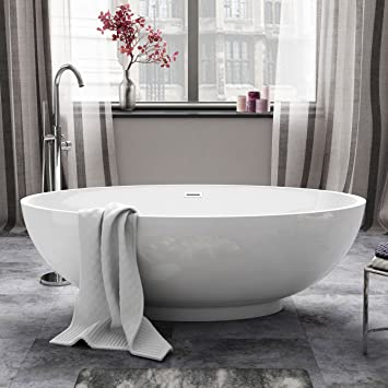 1690mm Modern White Designer Bathroom Oval Freestanding Bath