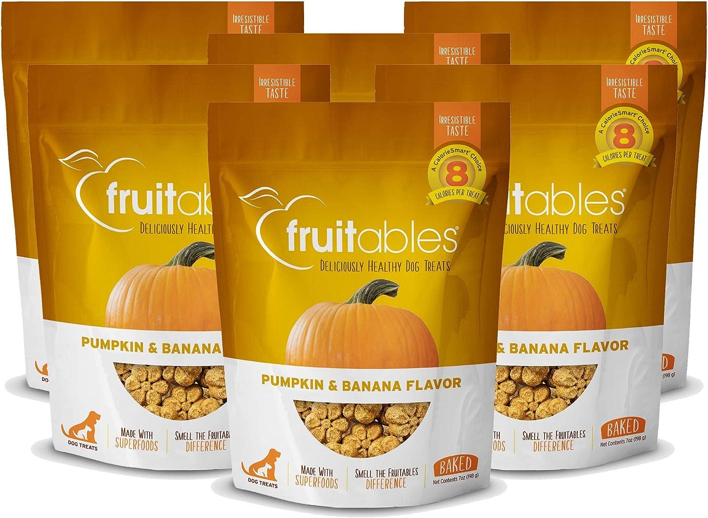 Fruitables 7 Ounce Crunchy Baked Dog Treats Pumpkin & Banana Flavor Pack of 6