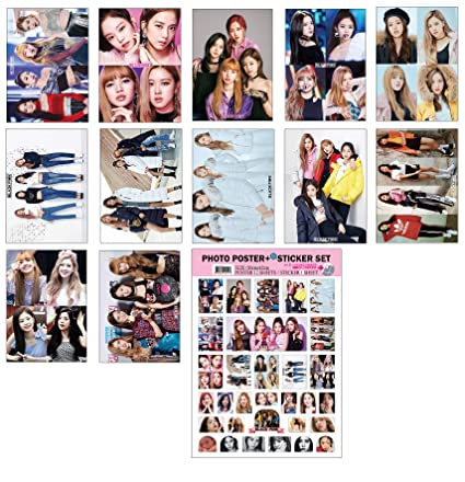 IDOLPARK Kpop (BTS:Twice:Blackpink:Seventeen) New 12 Posters + 1 Sticker  Set (Blackpink)