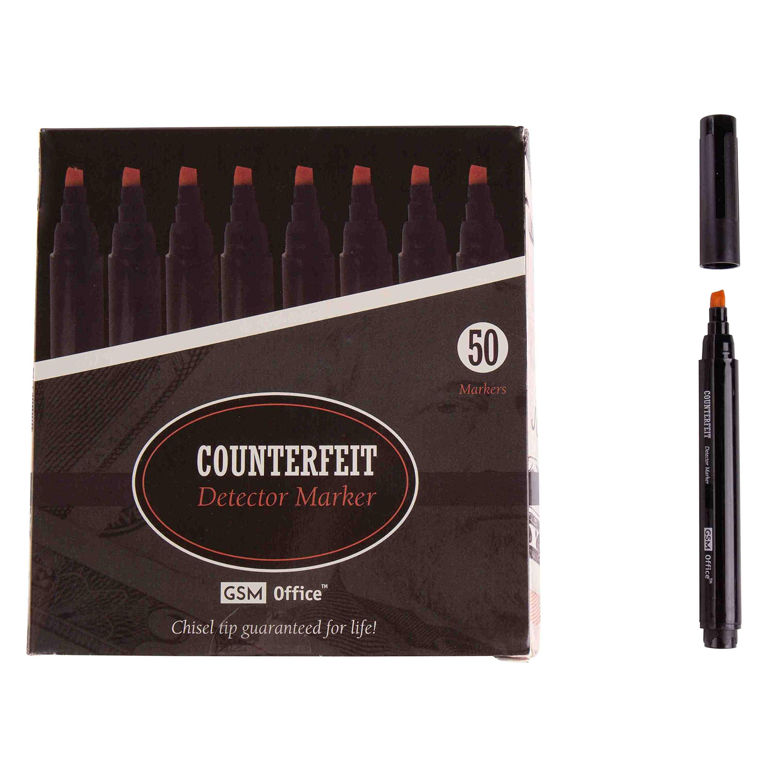 Counterfeit Money Bill Detector Pens, Markers - Detects Fake Currency - 50 Pack by GSM Brands