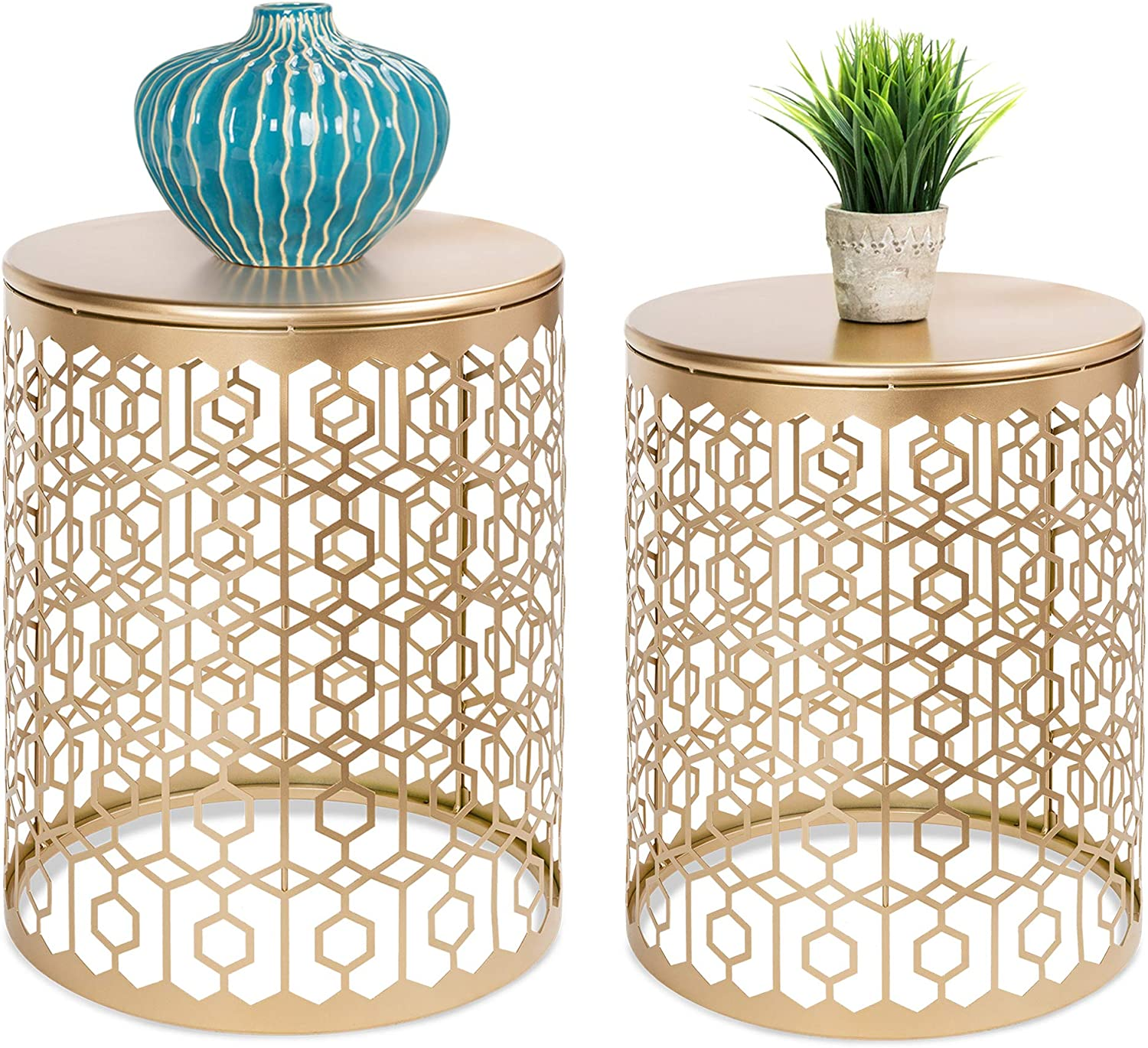 Amazon Com Best Choice Products Set Of 2 Decorative Round Accent Side Coffee End Table Nightstands For Living Room Bedroom Office Home Decor W Nesting Design Hexagon Diamond Patterns Gold Furniture
