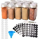 MONICA 14 Glass Spice Jars with w/2 Types of Spice Labels.4oz Empty Square Spice Bottles,Three Kinds of Shaker Lids and…