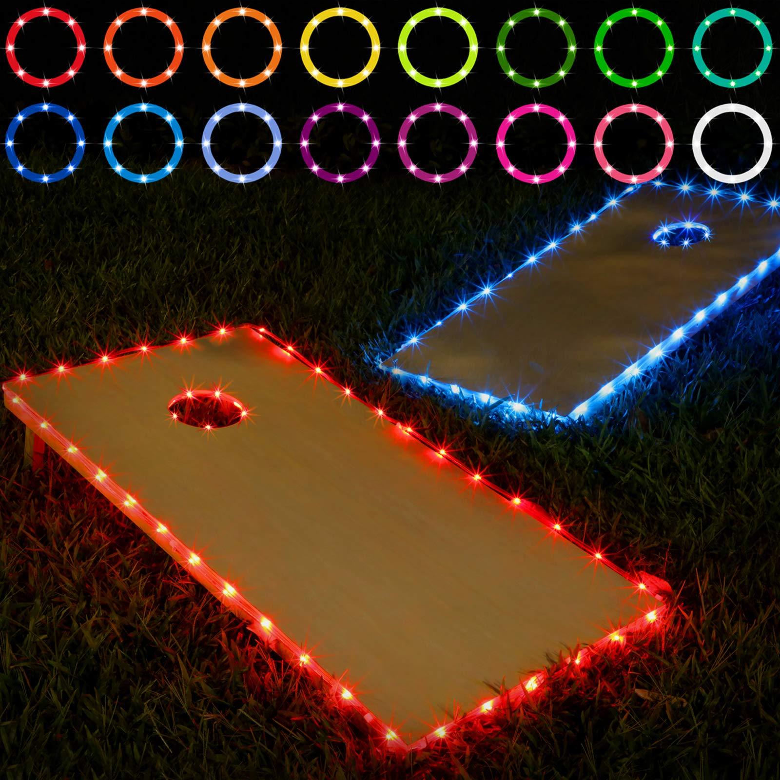 Blinngo Cornhole Lights Cornhole Led Lights fit for Cornhole Boards Ring Lights and Edge Lights for Family Backyard Bean Bag Toss Cornhole Game