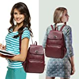 FIGROL Leather Backpack Fashion Mini School Handbag