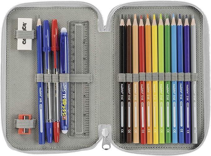CARIOCA NEON CASE | Estuche Escolar 2 Cremalleras con Material Escolar, Fluo Negro (42801/BLACK): Amazon.es: Oficina y papelería