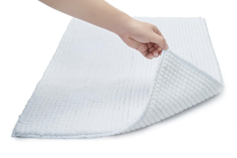 wendana Bathroom Rugs Non Slip Fluffy Microfiber Shag Bath Mats Water Absorbing Floor Carpet Bath Rugs for Bathroom 20 x 32 White Designyours