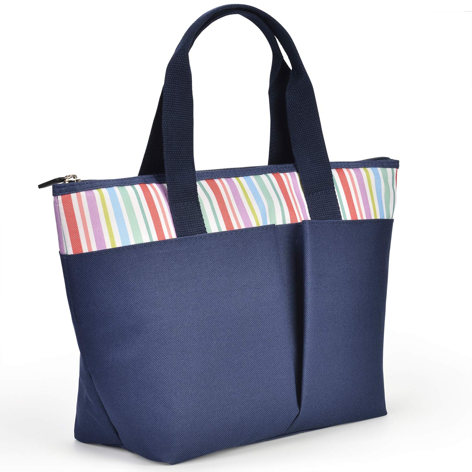 LEADO Insulated Lunch Tote Bag for Women Girls Adults, Reusable Lunch Handbag Large Capacity Zippered Meal Prep Cooler Thermal Lunch Box, Striped Navy Blue
