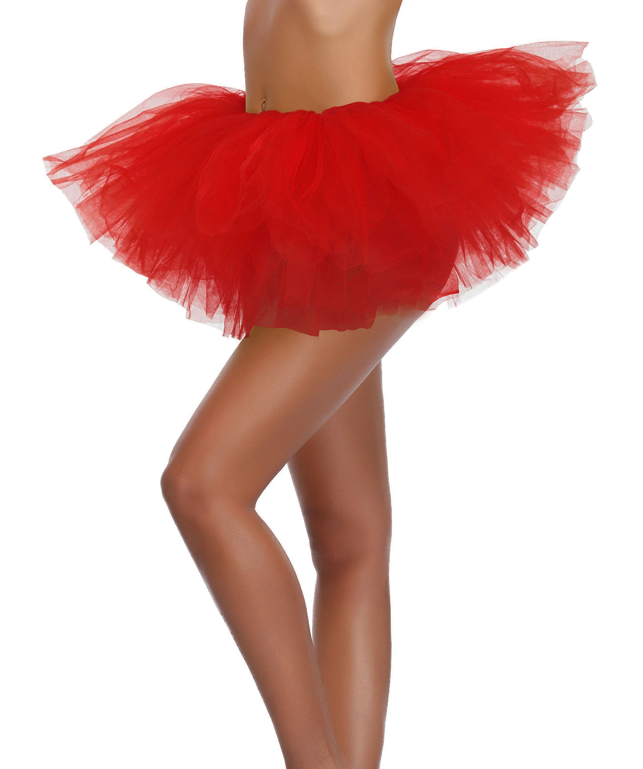 Women's, Teen, Adult Classic Elastic 3, 4, 5 Layered Tulle Tutu Skirt (One Size, Red 5Layer) by v28 (Image #3)