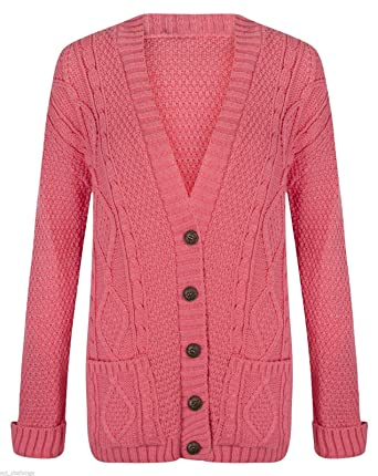 Button Knitted Cardigan Ladies Sleeve Grandad Long 8 Naz Long Womens Chunky Fashion B Cable q78w00