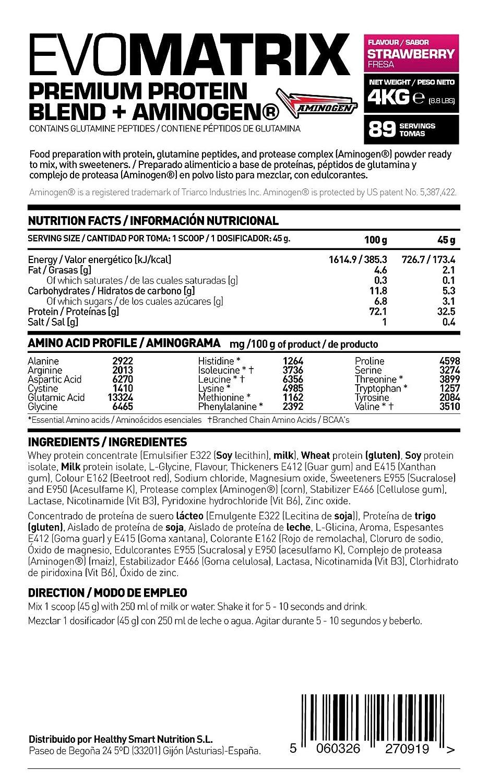 HSN Sports Evomatrix Proteína de Liberación Secuencial Sabor Fresa - 4000 gr: Amazon.es: Salud y cuidado personal