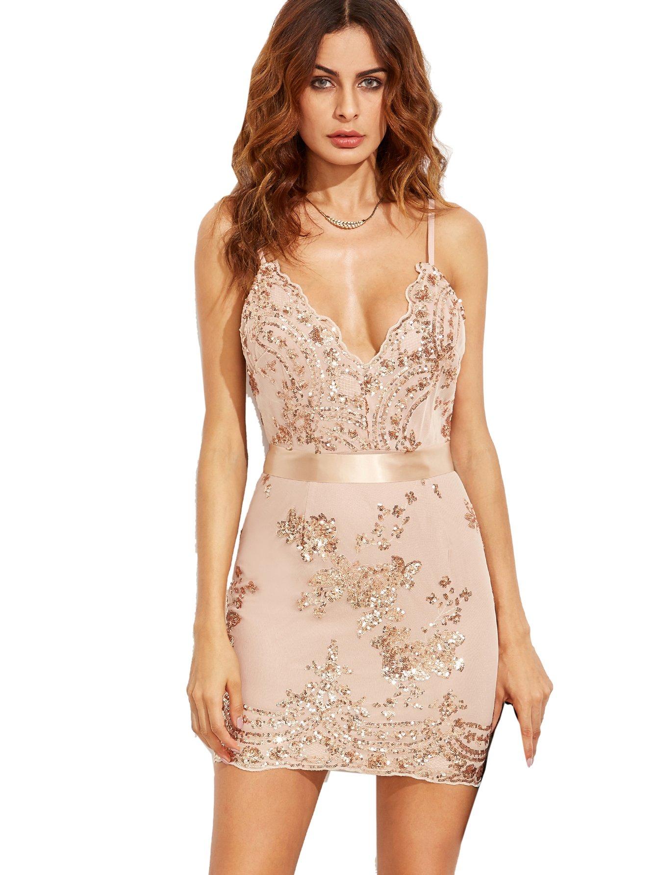 MakeMeChic Women's v-Neck Floral Sleeveless Short Fitted Dress, Apricot, Large