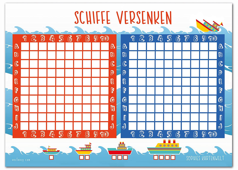 Häufig Schiffe Versenken Block - 50 Blatt Spielblock - Reisespiel für XI96