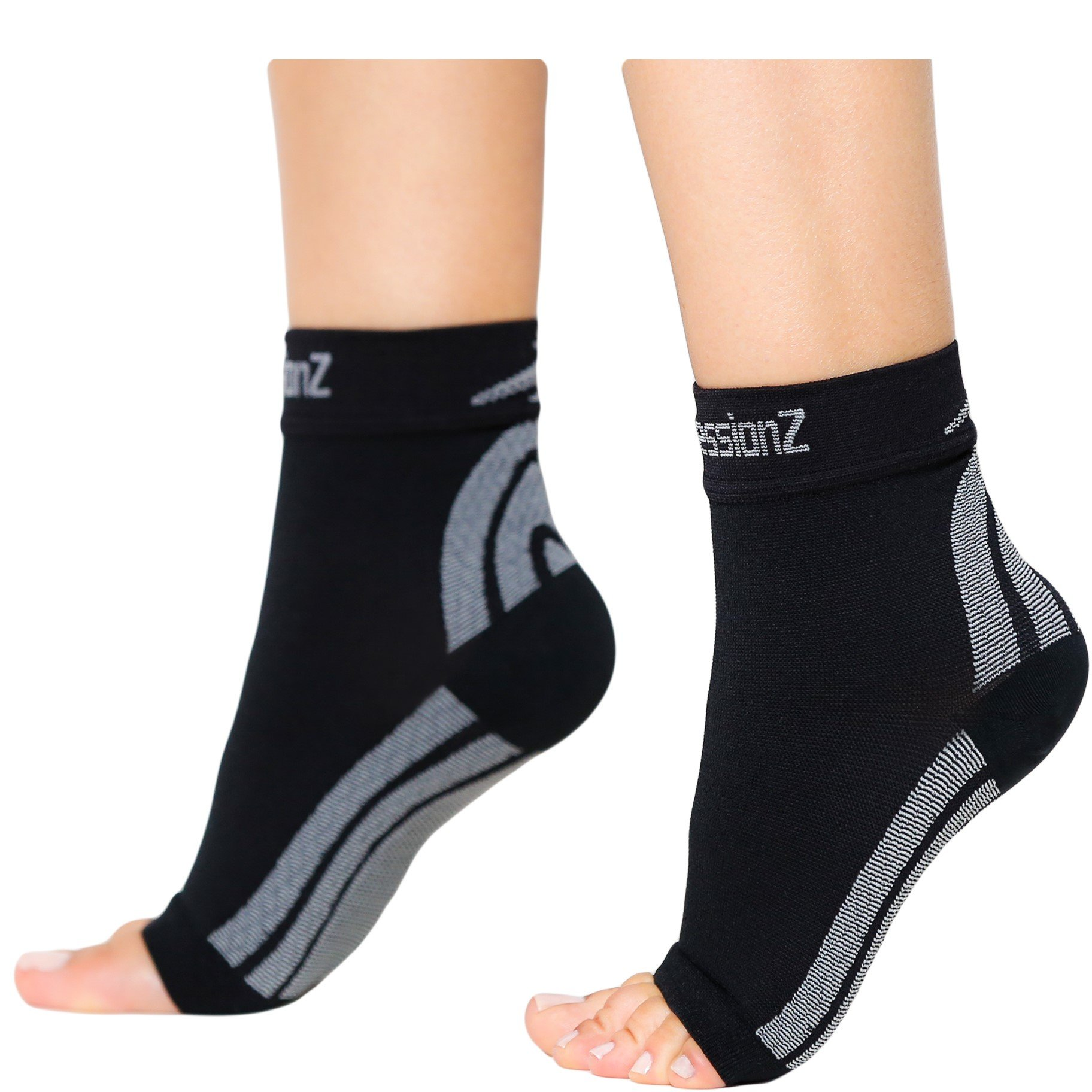 CompressionZ Plantar Fasciitis Socks - Compression Foot Sleeves - Ankle Brace with Arch Support - Pain Relief from Heel Spurs, Edema, Achilles Tendonitis - Reduce Swelling & Improve Circulation