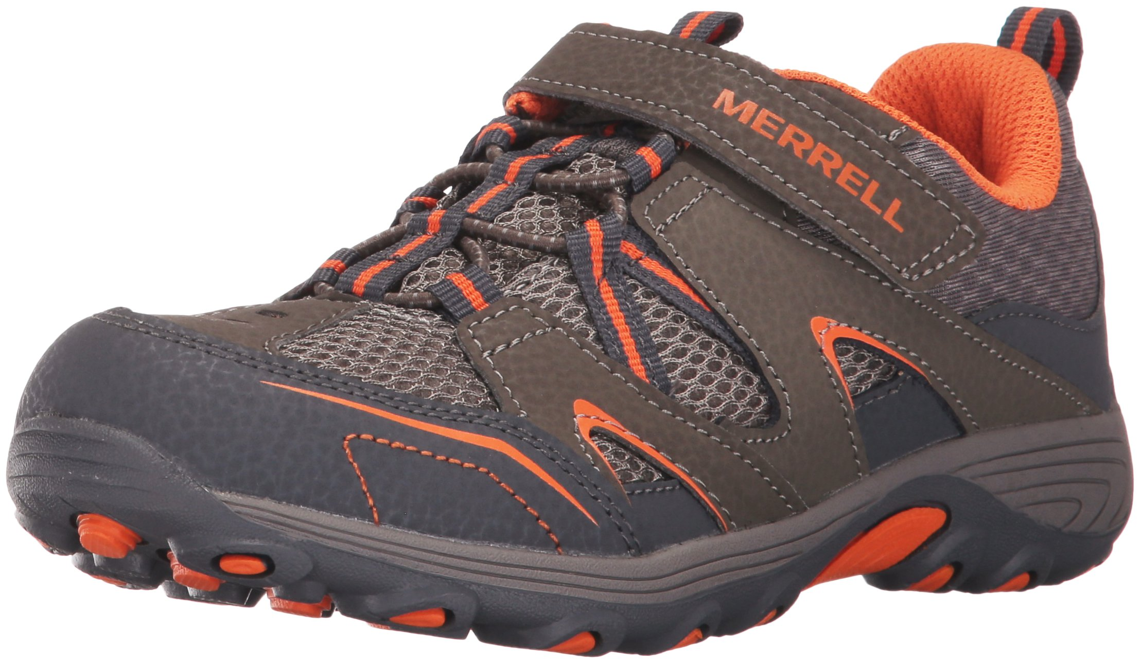 Merrell Trail Chaser Hiking Shoe (Little Kid/Big Kid), Gunsmoke/Orange, 6 M US Big Kid