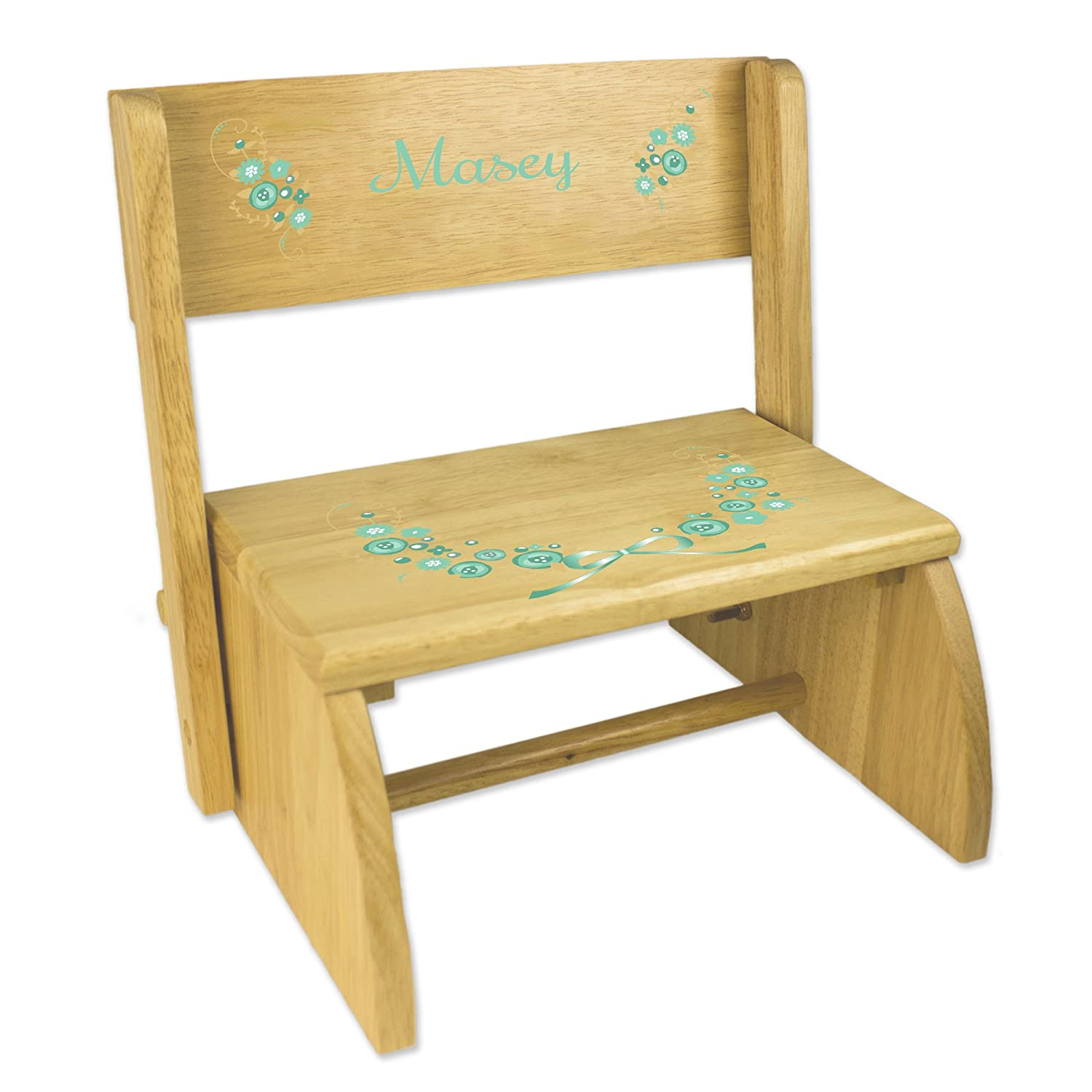 Personalized Golden Mint Vintage Garland Childrens and Toddlers wooden folding stool MyBambino stoo-nat-319e