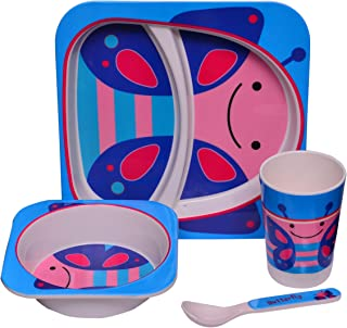 Purpledip Kids 5 pieces Dinner Set in High Quality plastic- Plate with 2 slots  sc 1 st  Amazon.in & Purpledip Kids 5 Pieces Dinner Set In Plastic- Plate With 2 Slots ...