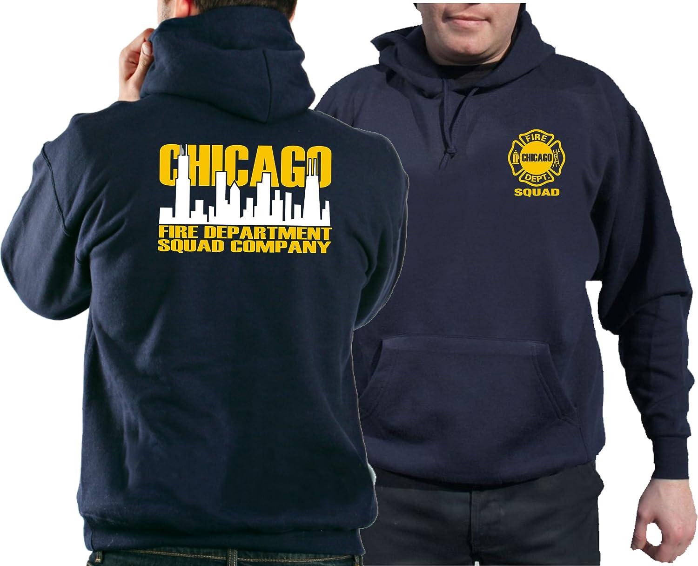 Felpa con cappuccio, Navy, Chicago Fire Dept. Squad bicolore Skyline (bianco/giallo) feuer1
