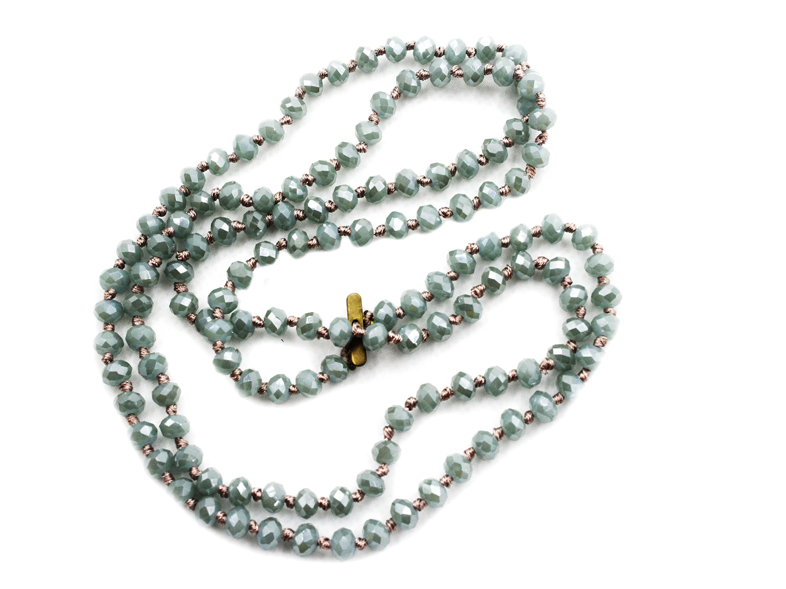 STAR BY QUEEN New Fashion Handmade Long Crystal Bead Chain Necklace Sweater Neckalce (Blue)