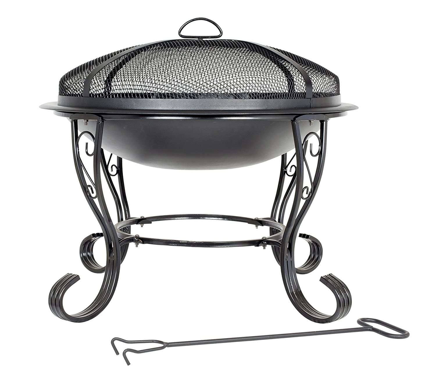black steel firebowl with mesh cover 61cm high by buchanan amazon