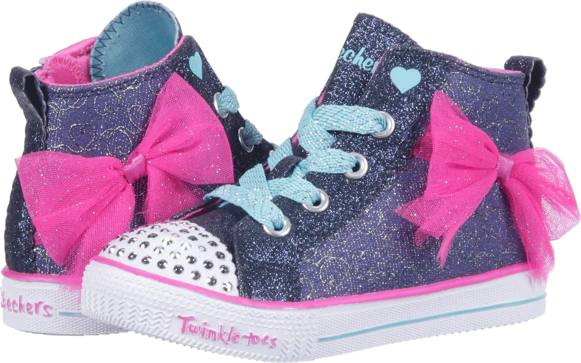 Skechers Kids Girls' Shuffle Lite-Harmony Hearts Sneaker, Navy/Hot Pink, 12 Medium US Little Kid