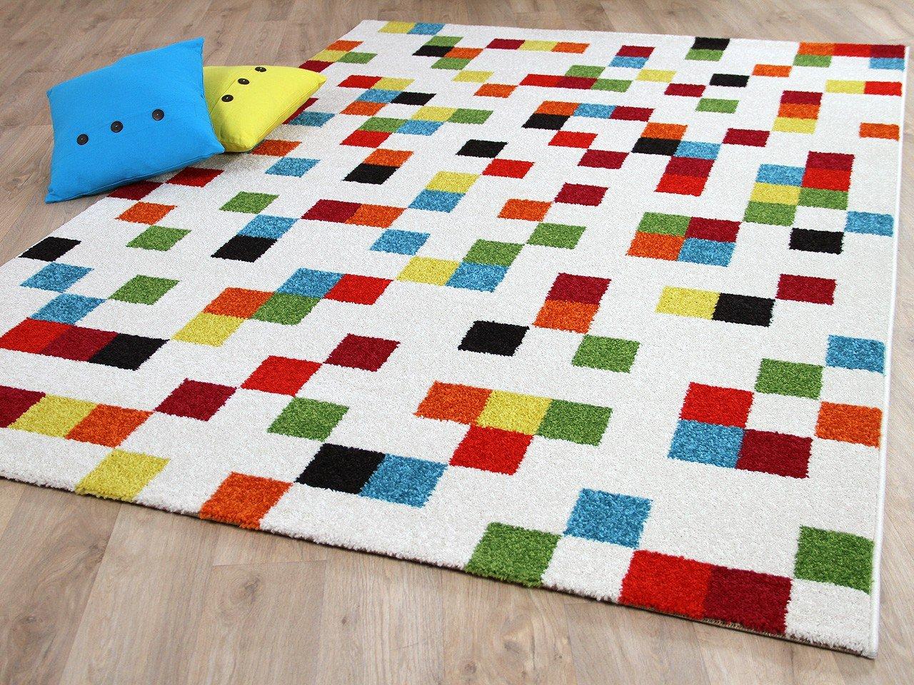 Designer Teppich Funky Pixel Weiß Bunt in 4 Größen