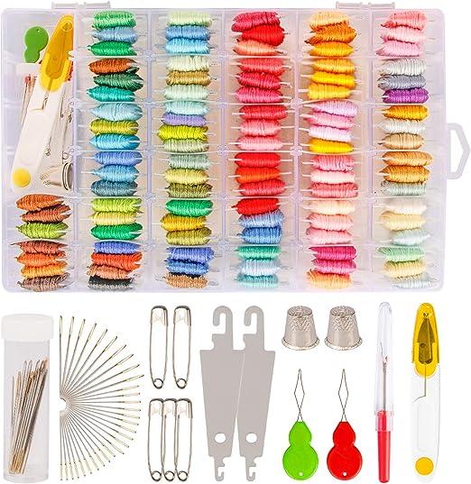 Hilo de bordado con caja de almacenamiento organizadora – 100 colores pulseras de la amistad hilo de