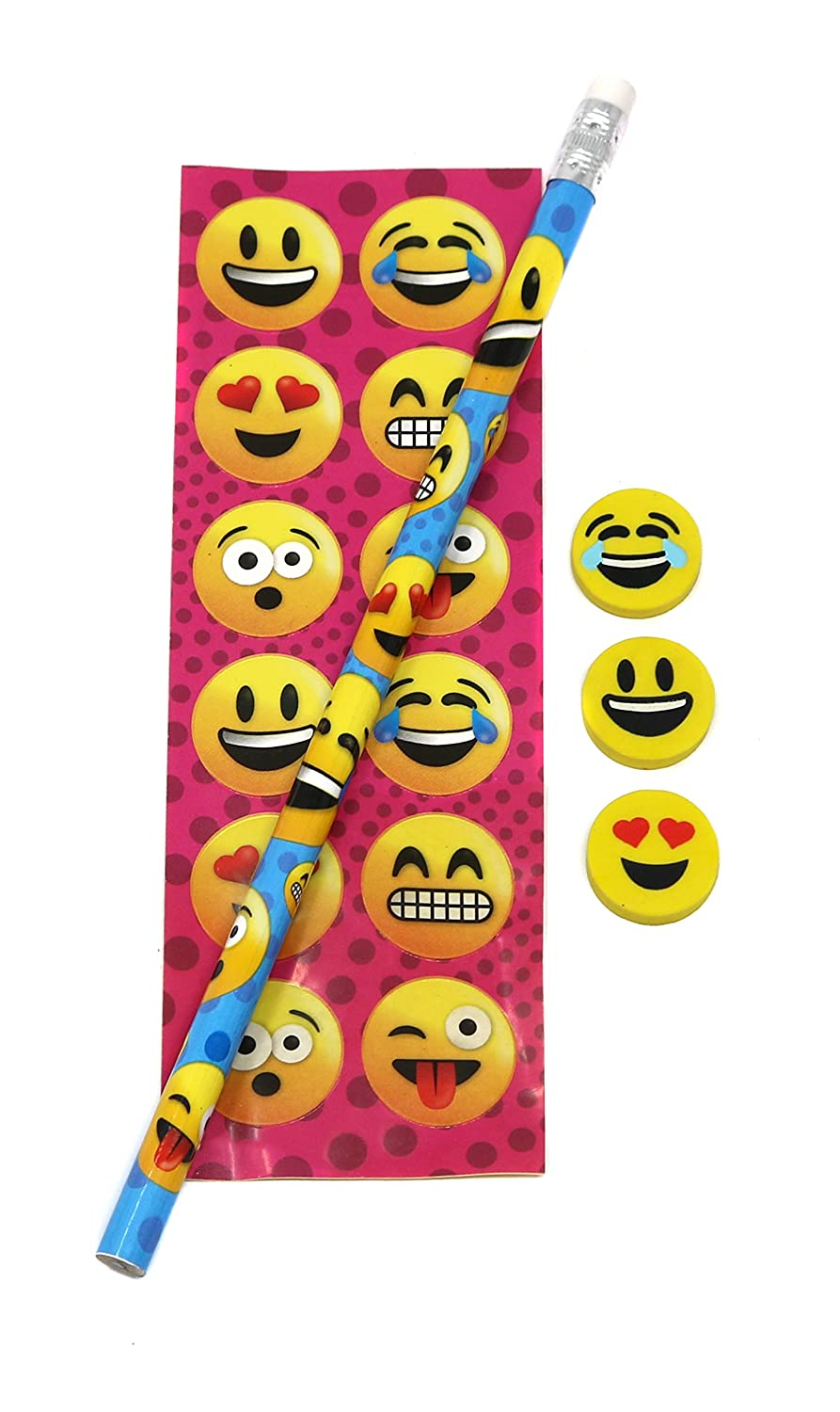 Pack Of 12 Sets Emoji Stationery Sets For Party Favors Includes Pencils SN Incorp. Stickers And Erasers