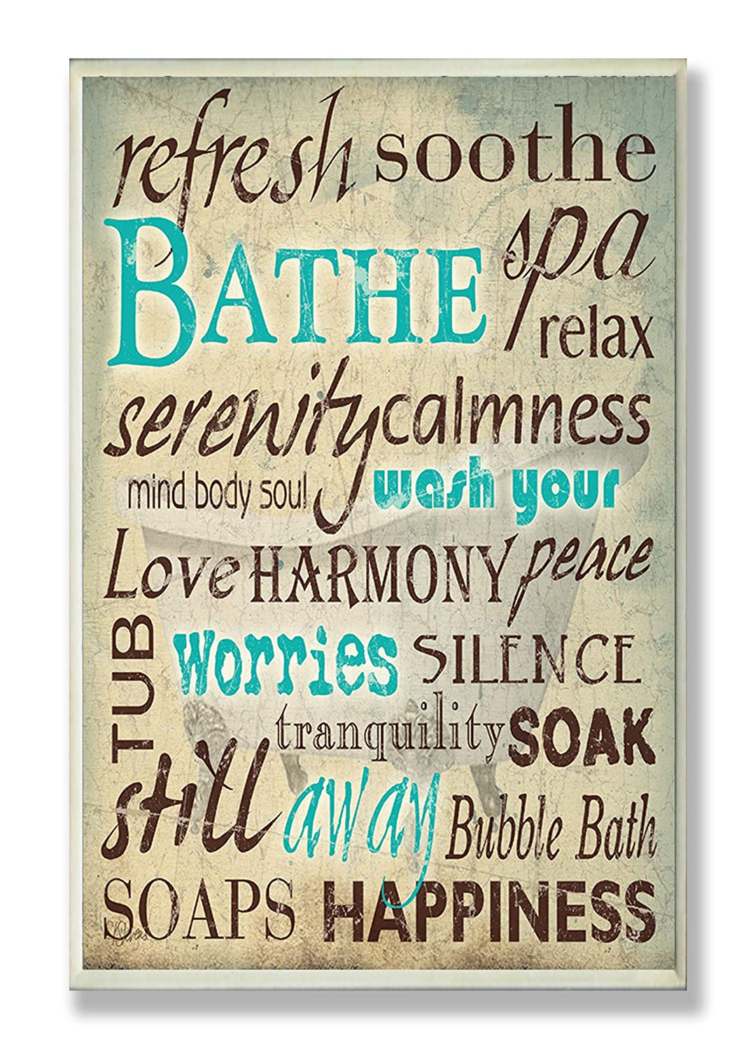 The Stupell Home Decor Collection Bathe Wash Your Worries Typography Bathroom Wall Plaque Art 16 x 20