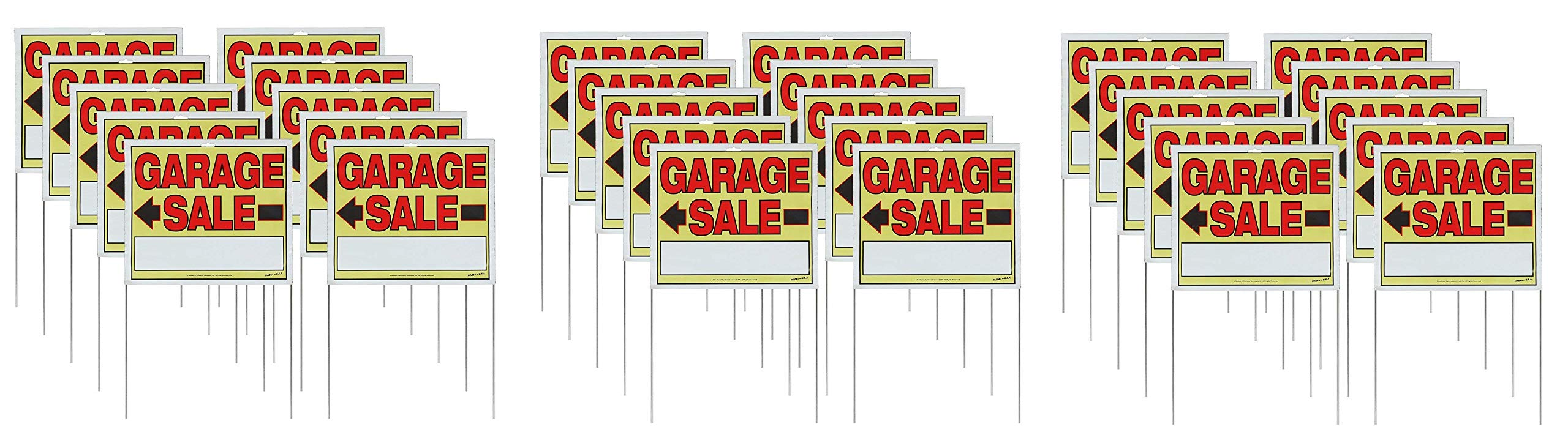 Sunburst Systems 22'' H x 14'' W Double-Sided Garage Sale Signs with Wire U-Stakes, 10 Pack (Thrее Рack)