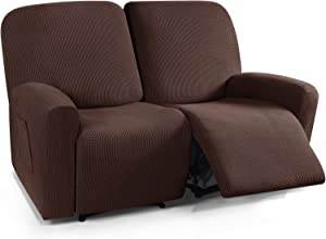TAOCOCO Recliner Loveseat Slipcover, 6 Pieces Dual Recliner Sofa Covers for 2 Seat Dual Reclining Loveseat Couch, Stretch Soft Jacquard Pattern Furniture Protector with Elasticity Chocolate