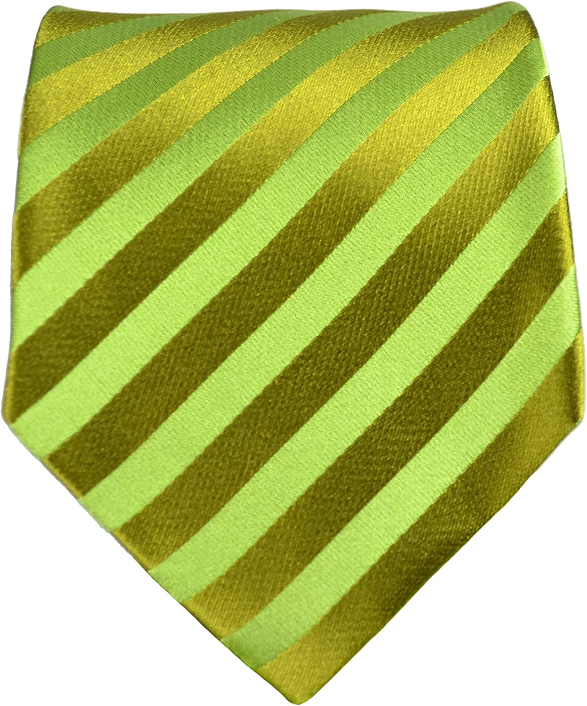 Striped Tie Yellow and Green Stripe Patterned Handmade 100/% Silk Wedding Necktie