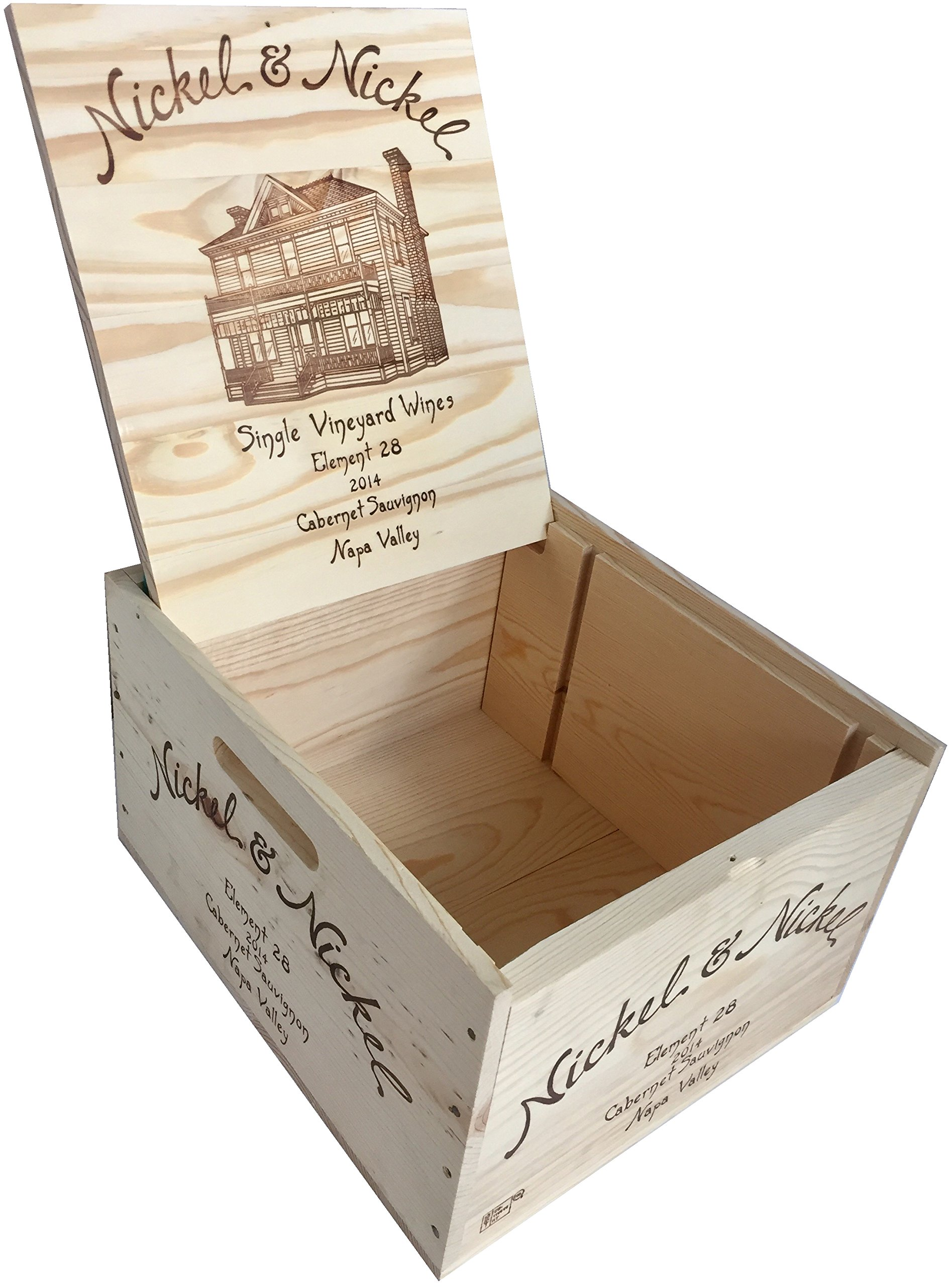 Vineyard Crates Wine Crate - Original Nickel & Nickel Decorative Wooden Wine Box with Hinged Lid and Logos On 5 Sides - Multiple Sizes - For Wedding, DIY or Wine Storage (14x12x8 NO Inserts) by Vineyard Crates (Image #3)