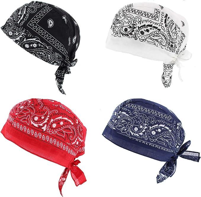 Fitted Bandana Headscarf One Size Zandana washed Blue White Paisley Cotton