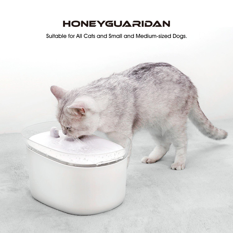 HoneyGuaridan W25 dispensador Silencia Fuente de Agua Automática Inteligente con Sensor de Infrarrojos,bebederos mascotas,Diseñado para Perros y Gatos: ...