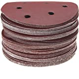 KINGSO 50 Pack 6-Hole Sanding Discs Sandpaper Hook and Loop Pads 40/60/80/100/120/180/240/320/400/800 Assorted Grits