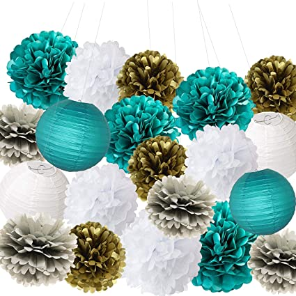 db60f9d05f203 Furuix Big Size White Teal Grey Gold 10inch 8inch Tissue Paper Pom Pom  Paper Lanterns Mixed Package for Teal Themed Party Wedding, Bridal Shower  Decor ...