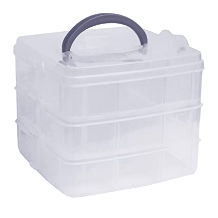 3-Tier Clear Plastic Stackable Organiser Storage Hobby Craft Box Container Case- Small by  sc 1 st  Amazon.com & Amazon.com: 3-Tier Clear Plastic Stackable Organiser Storage Hobby ...