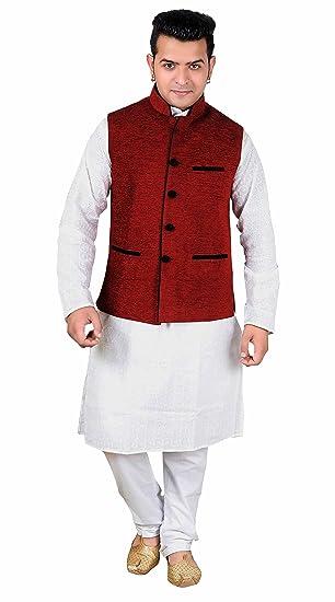 Desi Sarees Indian Smart Formal Wear Waistcoat Jacket 1015 (50 (XXXXL), Maroon