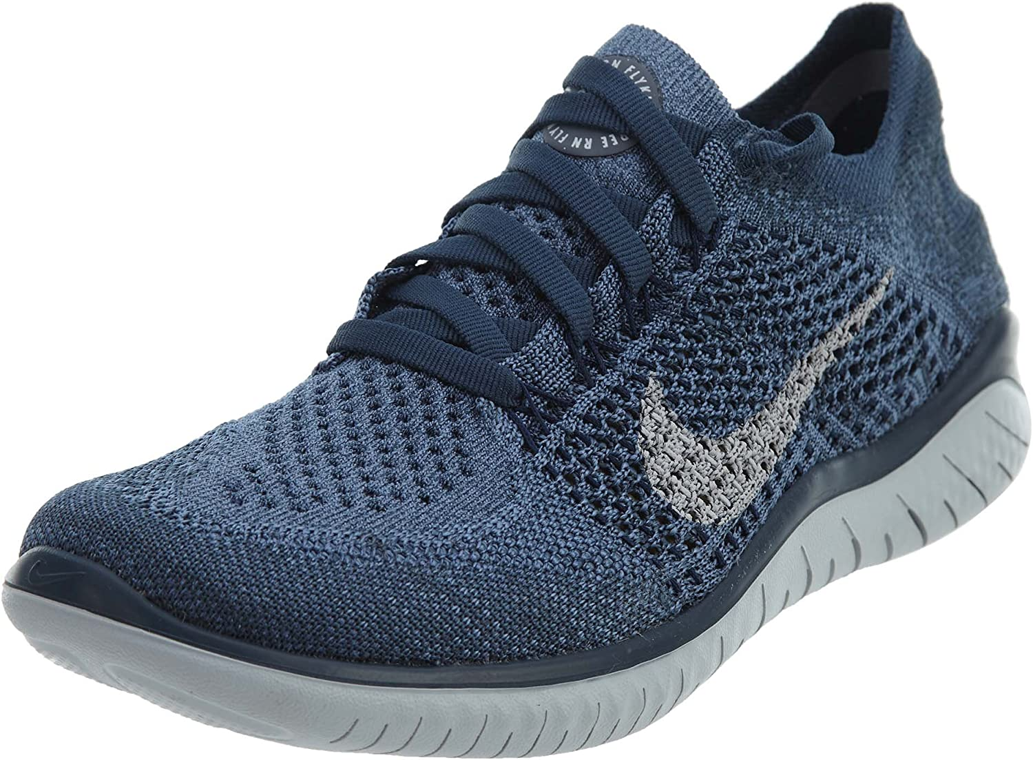 Nike Free Rn Flyknit 2018 Sz 8.5 Womens Running Squadron Blue Pure Platinum-Light Carbon Shoes