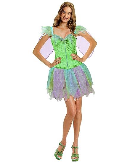 Fee Damen Karneval Kostüm Kleid mit Flügel Elfe Tinkerbell S/M ...