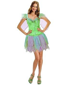 Fee Damen Karneval Kostum Kleid Mit Flugel Elfe Tinkerbell S M