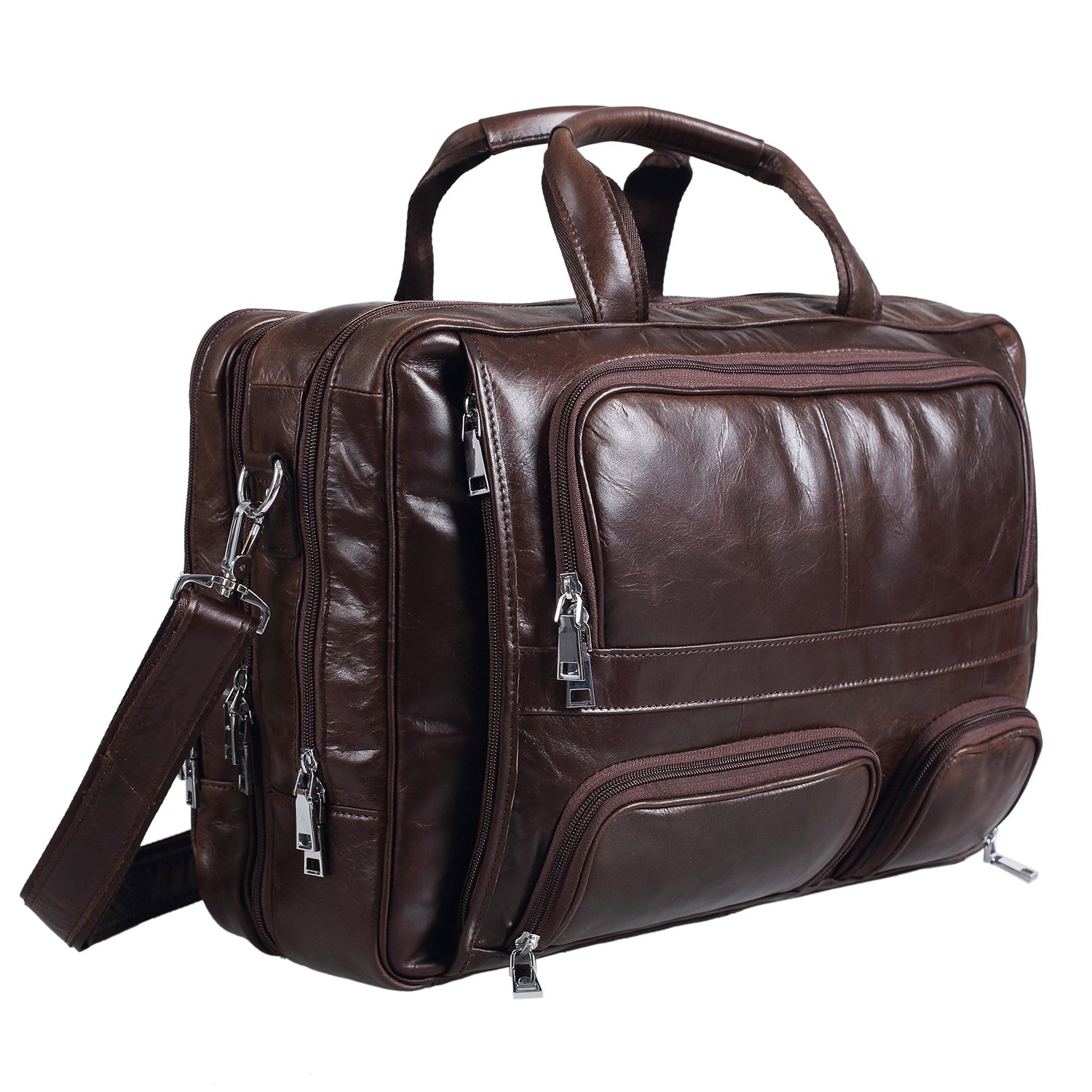 Polare Real Leather 17''Laptop Carry On Overnight Bag Business Briefcase Large For Men (coffee)