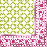 Entertaining with Caspari Al Fresco Paper Cocktail Napkins, Pink/Green, Pack of 20