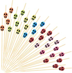 200 Pieces Skull Cocktail Picks Fruit Sticks Toothpicks Sandwich Appetizer Bamboo Skewers for Wedding Birthday Party Decorations (Rainbow Color)