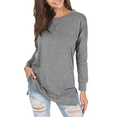levaca Women's Fall Long Sleeve Side Split Loose Casual Pullover Tunic Tops at Women's Clothing store
