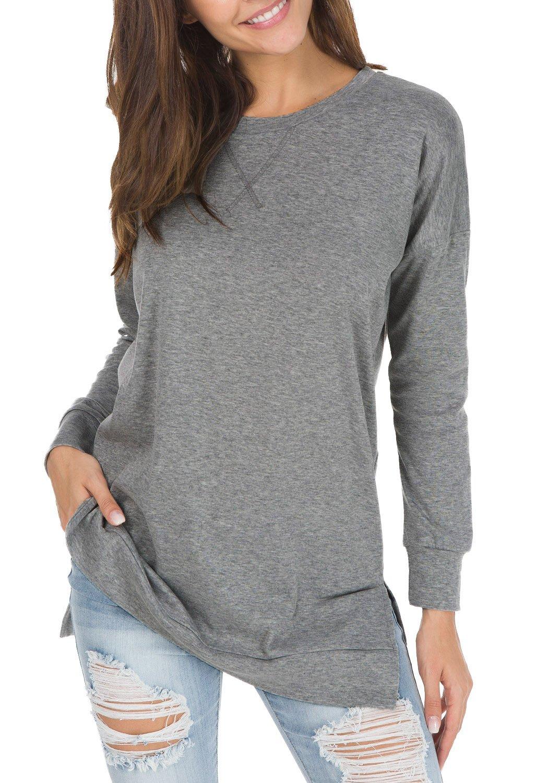 levaca Womens O Neck Plain Side Split Loose Casual Baggy Pullover Dark Gray S