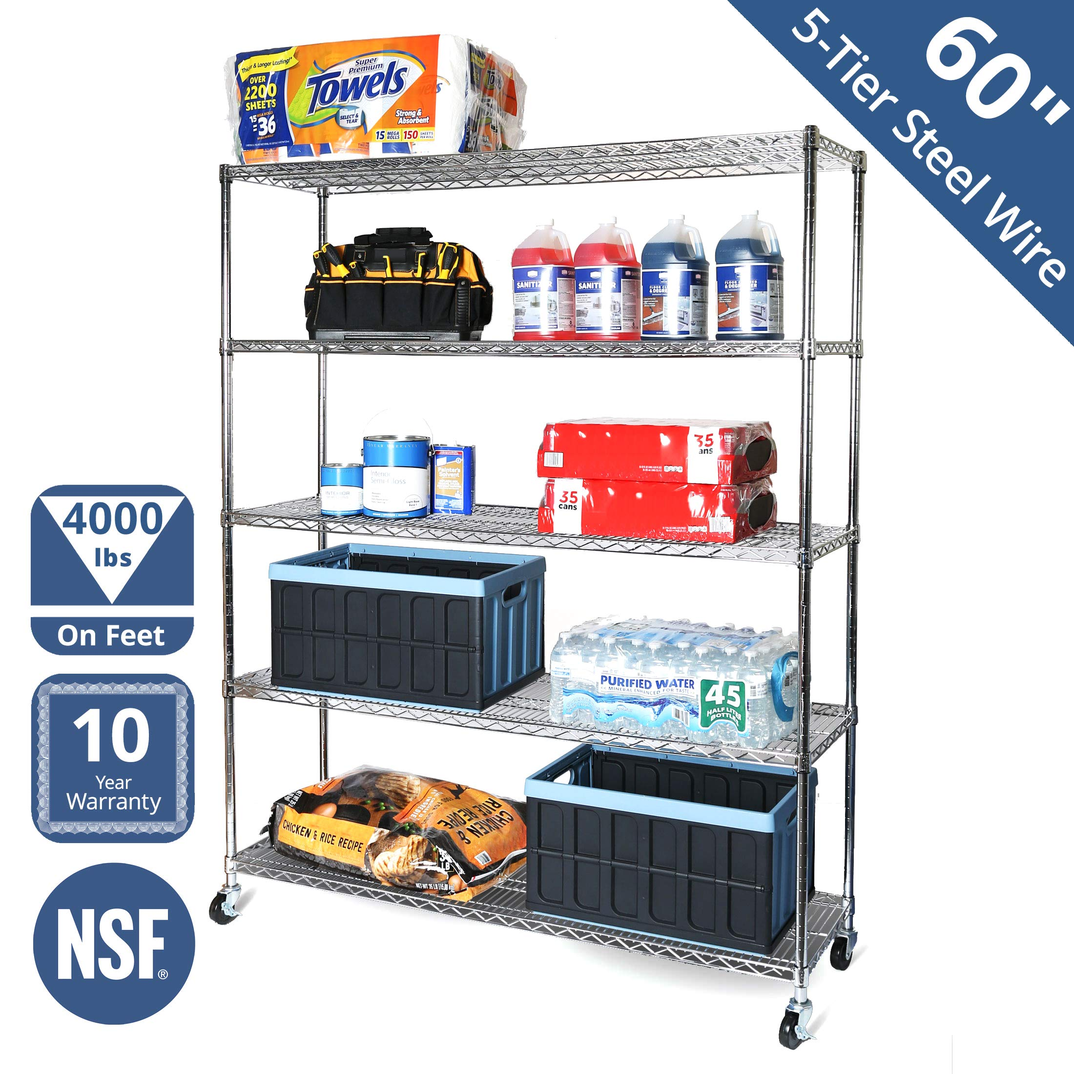 Seville Classics UltraDurable Commercial-Grade 5-Tier NSF-Certified Steel Wire Shelving with Wheels, 60'' W x 18'' D x 72'' H, Chrome by Seville Classics